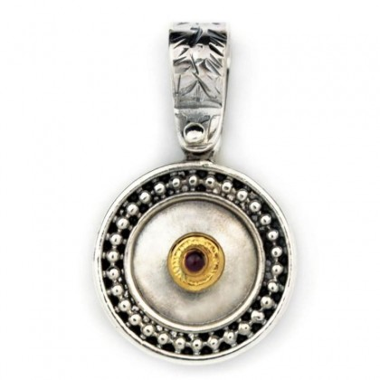 Byzantine-Medieval Round Pendant ~ Sterling Silver, Gold Plated Silver & Zircon