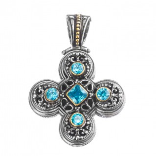 Gerochristo P5455N ~ Sterling Silver & Zircons Medieval-Byzantine Cross Pendant