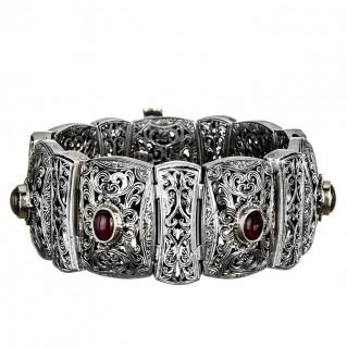 Gerochristo 6067N ~ Sterling Silver & Garnet Medieval-Byzantine Bangle Bracelet