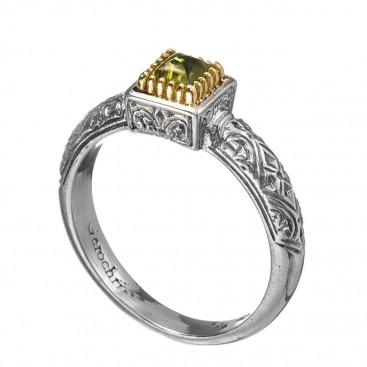 Gerochristo 2960N ~ Solid Gold & Sterling Silver Medieval-Byzantine Stackable Solitaire Ring