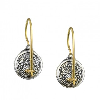 Gerochristo 1626N ~ Solid Gold & Silver Medieval Drop Earrings with Doublet Stones