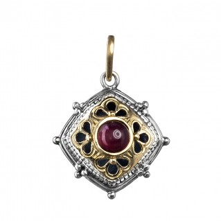 Gerochristo 1025N ~ Solid Gold & Sterling Silver Medieval-Byzantine Charm Pendant