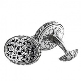 Gerochristo 7031N ~ Sterling Silver Medieval Byzantine Filigree Oval Cufflinks