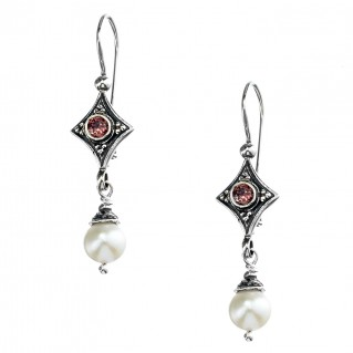 Gerochristo 1447N ~ Sterling Silver & Gemstones - Medieval Dangle Earrings