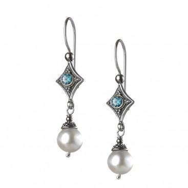 Gerochristo 1447N ~ Sterling Silver & Gemstones - Medieval Dangle Earrings