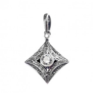 Gerochristo 1277N ~ Sterling Silver & Zircon Medieval Charm Pendant
