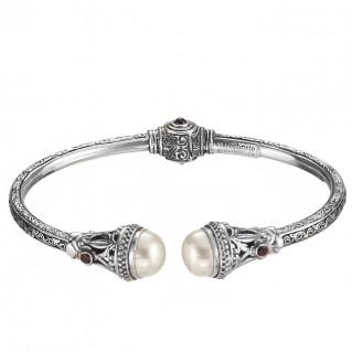 Gerochristo 6394N ~ Sterling Silver Medieval Byzantine Hinged Cuff Bracelet