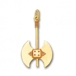 Minoan Double Axe - 14K Solid Gold Pendant C/Medium
