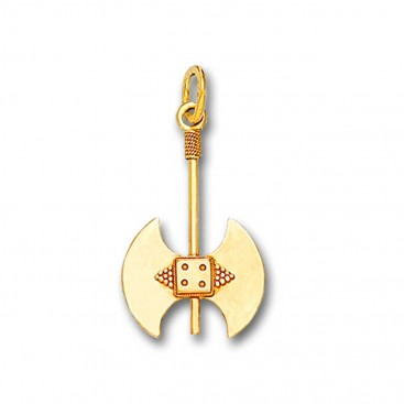 Minoan Double Axe - 14K Solid Gold Pendant C/Small