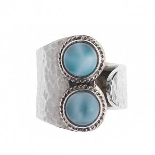 Savati 245 - Sterling Silver Wrap Ring with Larimar Gemstones