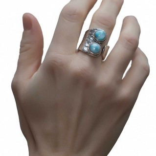 Savati 245 - Sterling Silver Wrap Ring with Larimar Gemstones