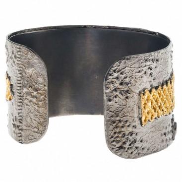 Polemis 2001 ~ Sterling Silver Wide Cuff Bracelet with Gemstones