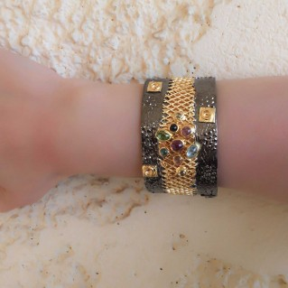 Polemis 2001 ~ Sterling Silver Wide Cuff Bracelet with Gemstones