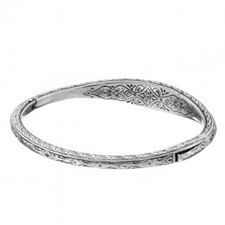 Gerochristo 6401N ~ Sterling Silver & Zircon Medieval-Byzantine Bangle Bracelet