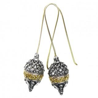 Gerochristo 1064N ~ Solid Gold & Sterling Silver Long Acorn Earrings