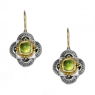 Gerochristo 1007N ~ Solid Gold & Sterling Silver Medieval-Byzantine Quatrefoil Earrings