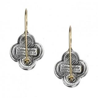 Gerochristo 1007N ~ Solid Gold & Sterling Silver Medieval-Byzantine Quatrefoil Earrings