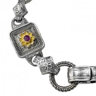 Gerochristo 6237N ~ Solid Gold & Sterling Silver Medieval-Byzantine Floral Link Bracelet