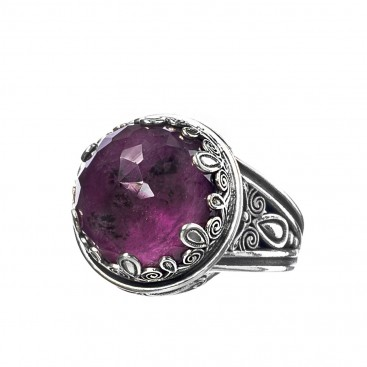 Gerochristo 2889N ~ Sterling Silver Medieval-Byzantine Cocktail Ring with Doublet Stone