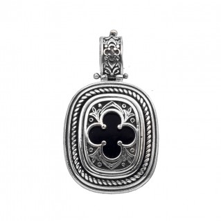 Gerochristo 3320N ~ Sterling Silver Byzantine-Medieval Inlaid Pendant