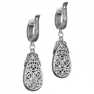 Gerochristo P1763N ~ Sterling Silver Medieval Byzantine Long Dangle Earrings