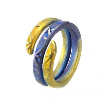 Giampouras 5072 ~ Anodized Colored Titanium 2-coil Ring