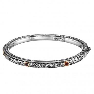 Gerochristo 6405N ~ Solid Gold & Sterling Silver Medieval-Byzantine Bangle Bracelet