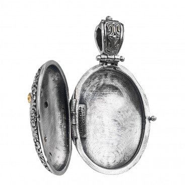 Gerochristo P3332N ~ Sterling Silver Medieval Floral Oval Locket Pendant