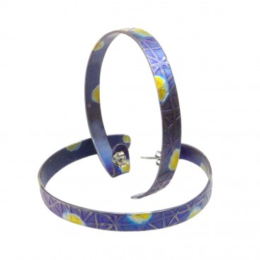 Giampouras 50642 ~ Anodized Colored Titanium Open Hoop Earrings