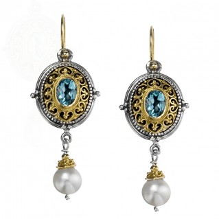 Gerochristo 1038N ~ Solid Gold, Silver & Stones - Medieval Drop Earrings