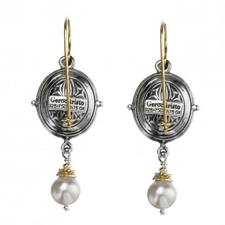 Gerochristo 1038N ~ Solid Gold, Silver & Stones - Medieval Drop Earrings