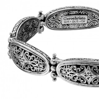 Gerochristo 6416N ~ Sterling Silver Medieval-Byzantine Filigree Link Bracelet