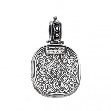 Gerochristo 3310N ~ Solid Gold & Sterling Silver Conqueror's Cross Pendant