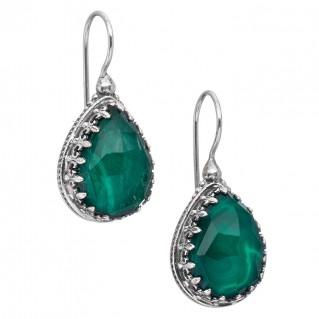 Gerochristo 1606N ~ Sterling Silver Medieval Teardrop Earrings with Doublet Stones