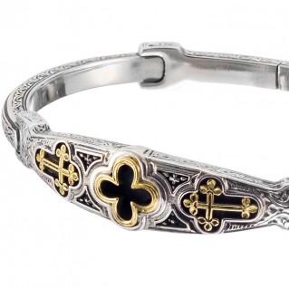 Gerochristo 6429N ~ Solid Gold & Sterling Silver Medieval Cross Bangle Bracelet
