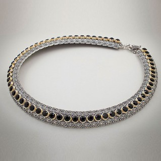K254 ~ Sterling Silver and Swarovski - Medieval Byzantine Choker Necklace