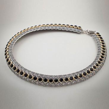 K254 ~ Sterling Silver and Swarovski - Medieval Byzantine Choker Necklace