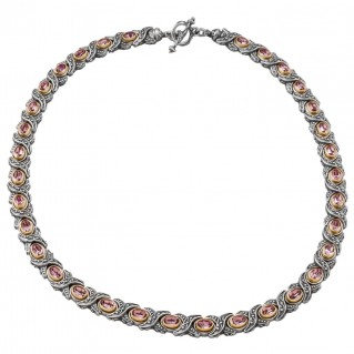 K262 ~ Sterling Silver and Swarovski - Medieval Byzantine Choker Necklace