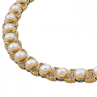 K277 ~ Sterling Silver and Pearls - Medieval Byzantine Necklace