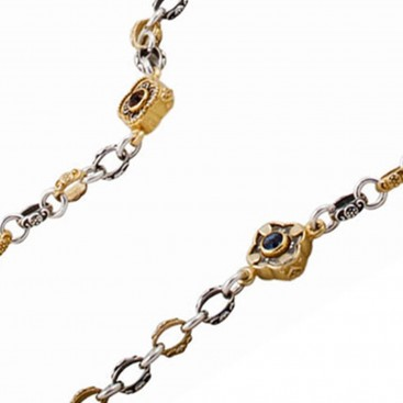 K278 ~ Silver and Swarovski - Medieval Byzantine Long Station Necklace