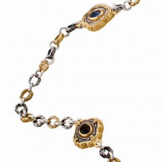 K279 ~ Silver and Swarovski - Medieval Byzantine Long Station Necklace