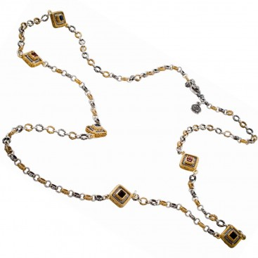 K280 ~ Silver and Swarovski - Medieval Byzantine Long Station Necklace