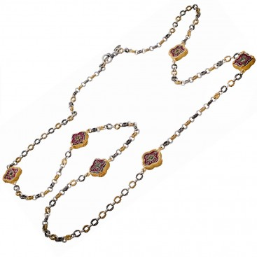 K281 ~ Silver and Swarovski - Medieval Byzantine Long Station Necklace