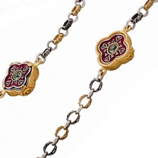 K281 ~ Silver and Swarovski - Medieval Byzantine Long Station Necklace