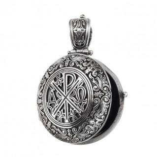 Gerochristo 3337N ~ Chi Rho-Chrismon ~ Sterling Silver Medieval Byzantine Round Locket Pendant
