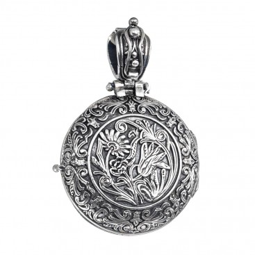Gerochristo P3329N ~ Chi Rho-Chrismon ~ Sterling Silver & Gold Medieval Byzantine Round Locket Pendant