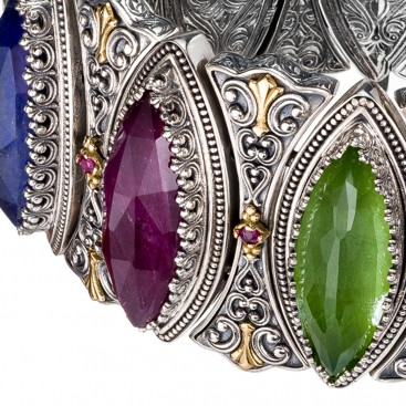 Gerochristo 6385N ~ Solid Gold & Silver Medieval-Byzantine Multicolor Wide Bangle Bracelet