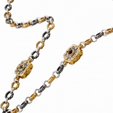 K284 ~ Silver and Swarovski - Medieval Byzantine Long Station Necklace