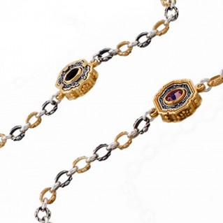 K285 ~ Silver and Swarovski - Medieval Byzantine Long Station Necklace