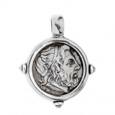 Zeus-Minos and Labyrinth - Knossos Crete Tetradrachm ~ Sterling Silver Coin Pendant